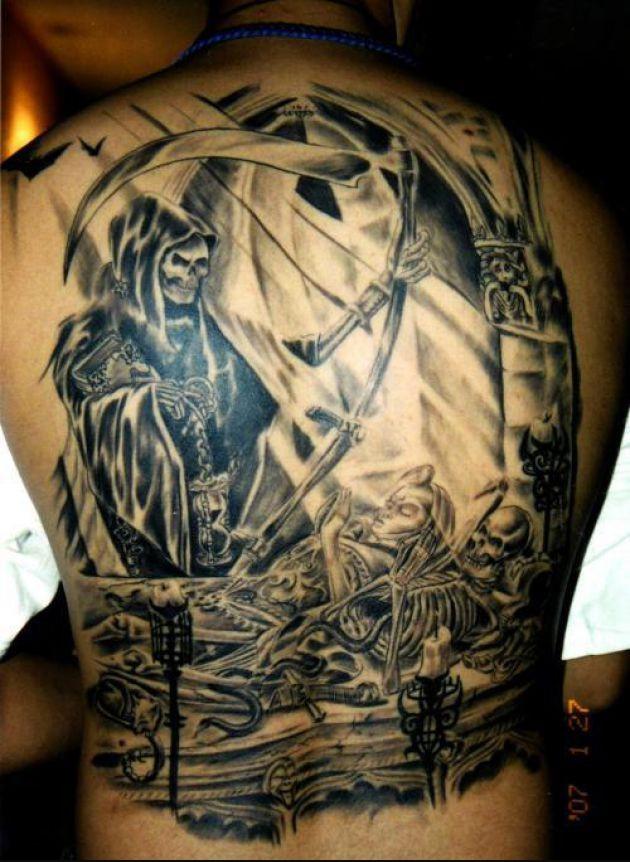 Nice Horror Tattoo On Back Body For Boys