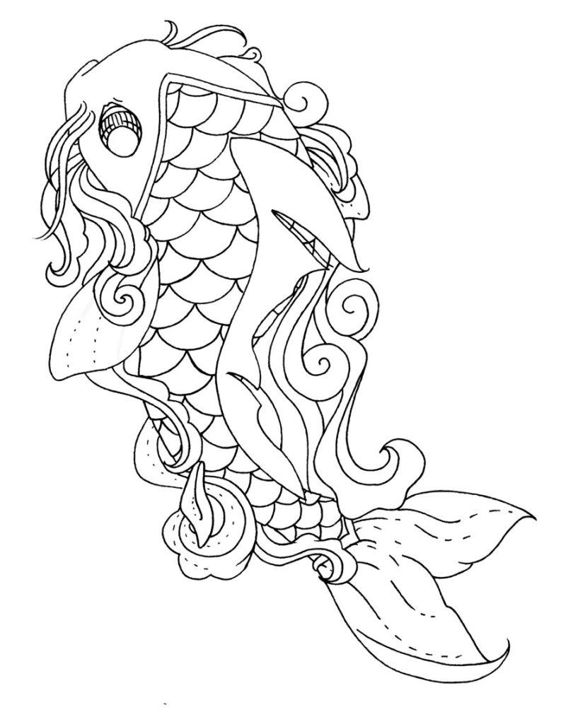Nice Koi Fish Lineart Tattoo Sample For Girls