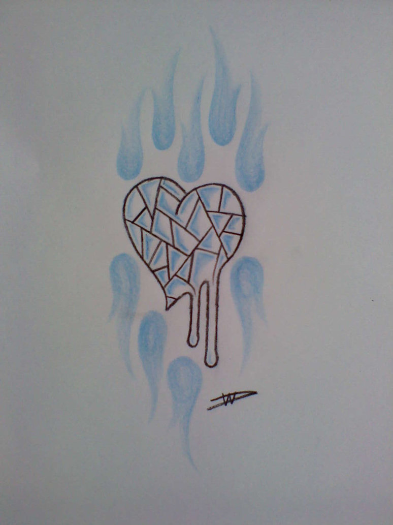 Nice Melting Glass Heart Tattoo Design For Boys