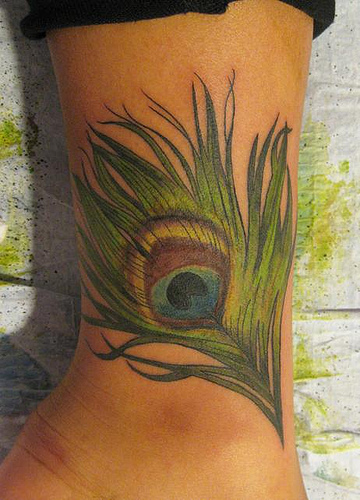 Nice Peacock Feather Tattoo On Wrist For Boys