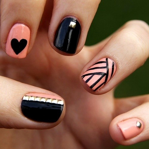 Nicest Black Nail Art Design With Pink Nail Paint Design