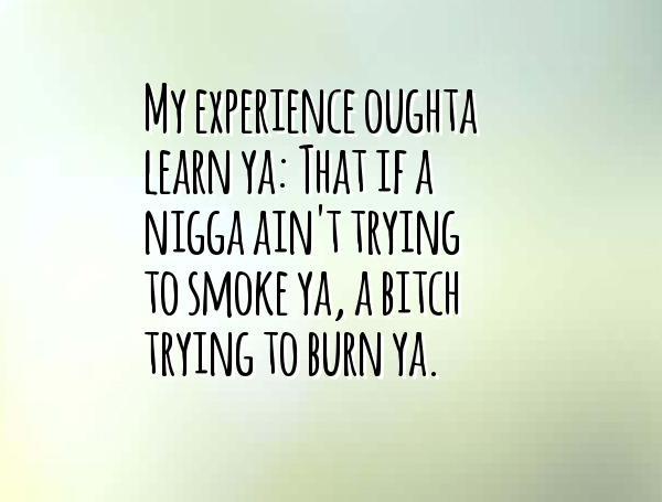 Nigga Quotes My experience oughta learn ya that if a nigga ain't trying to smoke ya a itch trying to burn ya