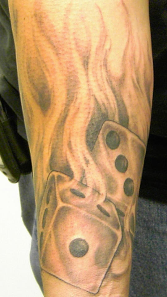 Out Standing Dice n Fire Tattoo Design For Boys