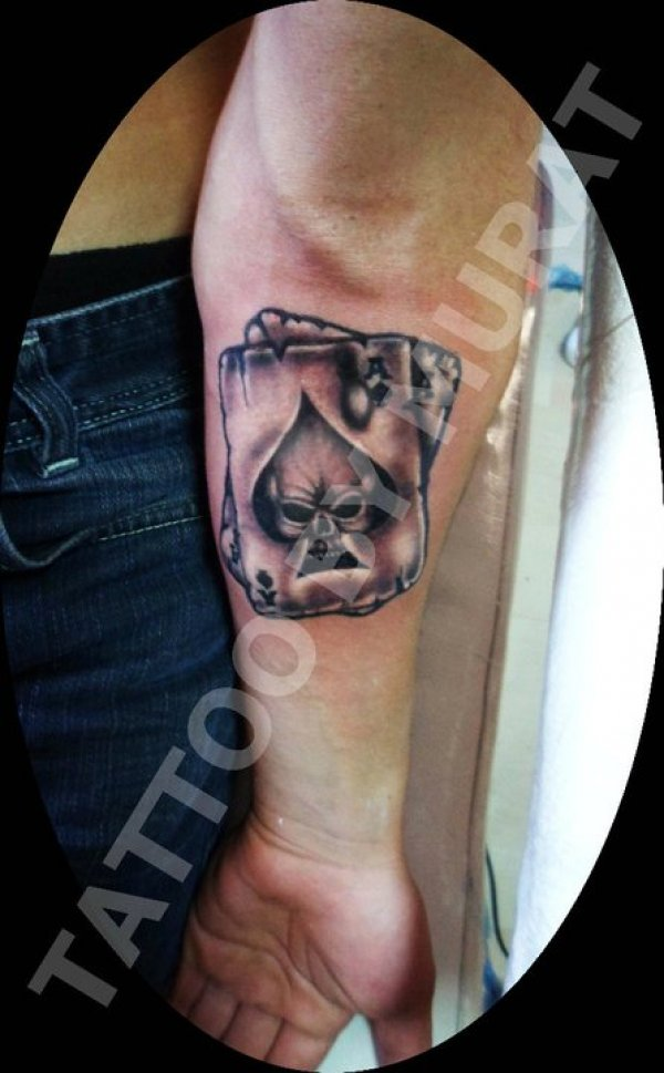 Out Standing Gambling Cards Tattoo On Arm For Boys