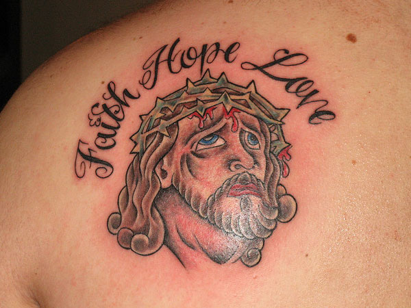 Out Standing Jesus Faith Tattoo On Back Of Shoulder For Boys