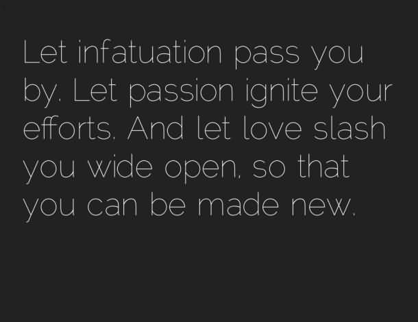 Passion Sayings Let Infatuation Pass You By, Let Passion Ignite Your Efforts