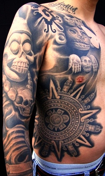 Passionate Aztec Body Sleeve Tattoo Design For Boys