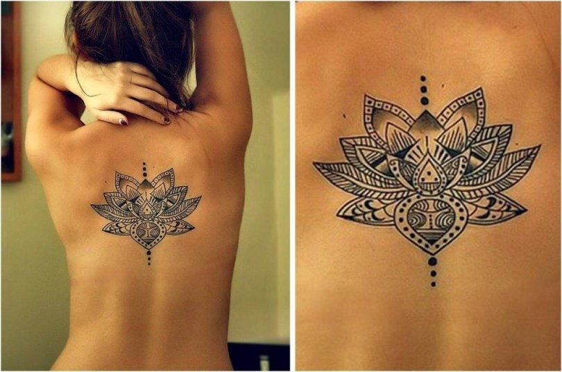 Passionate Black n White Lotus Flower Tattoo Design For Girls