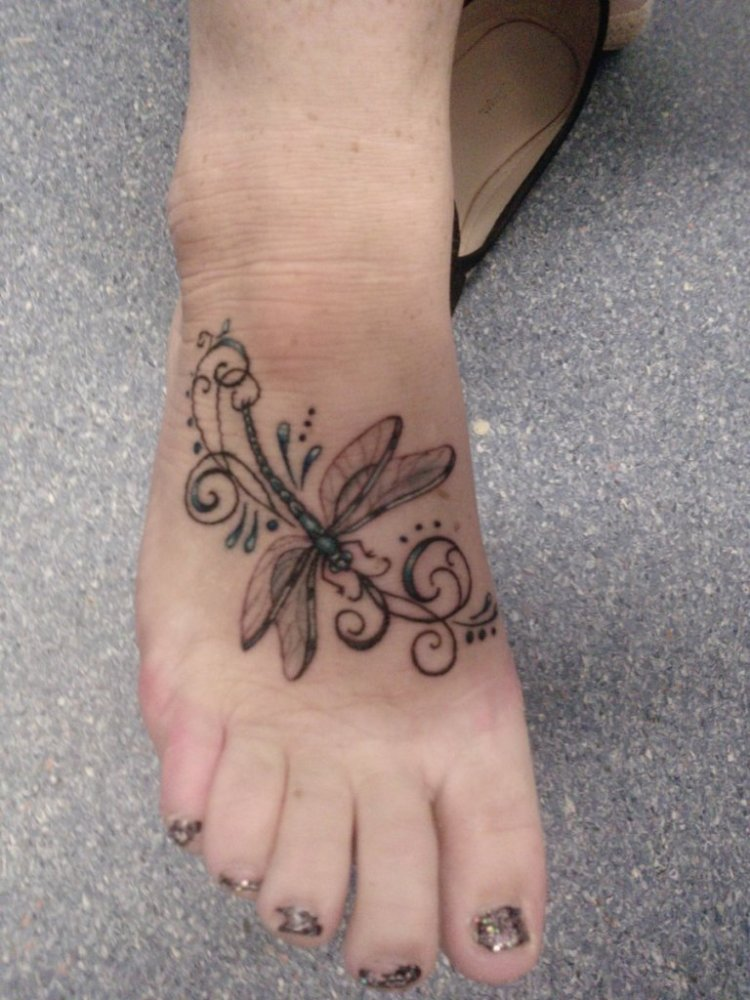 Passionate Dragonfly Tattoo On Foot For Girls
