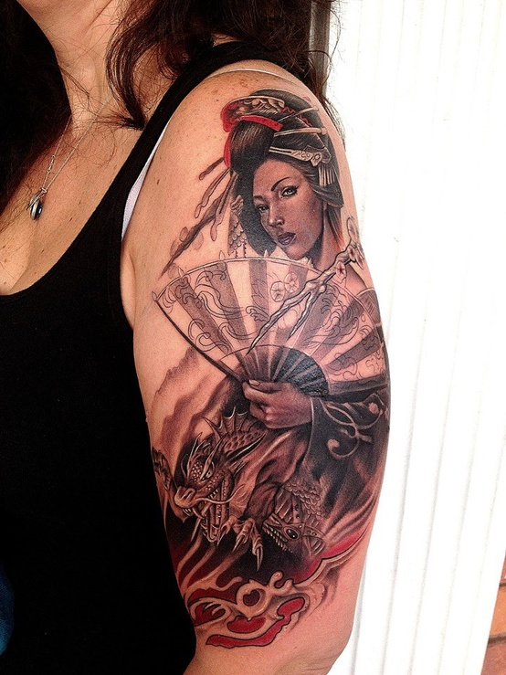 Passionate Geisha n Drake Tattoo On Shoulder For Girls