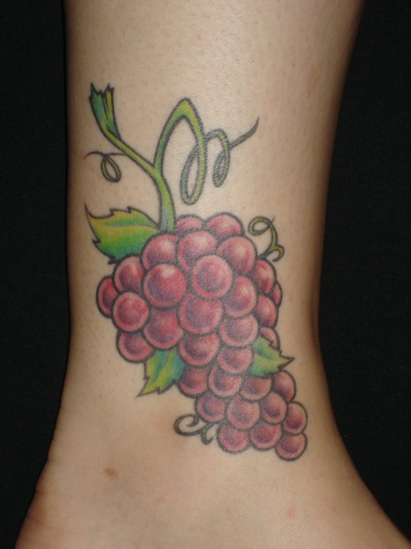 Passionate Grapes Tattoo Design On Ankle For Women