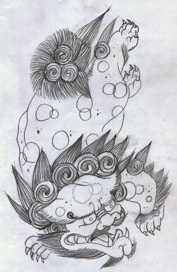 Passionate Japanese Dog Tattoo Drawing For Girls