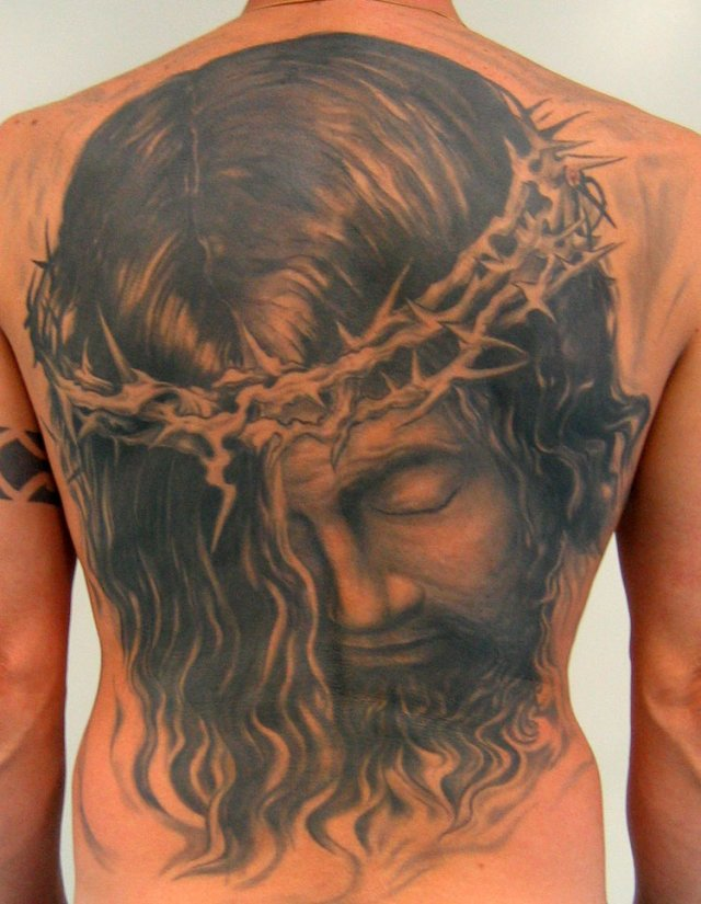 Passionate Jesus Head Tattoo On Full Back For Boys
