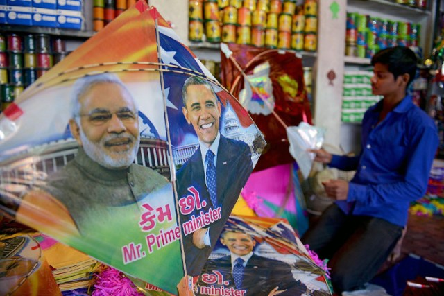 People Celebrating Happy Bansant Panchami Modi Obama kite Images
