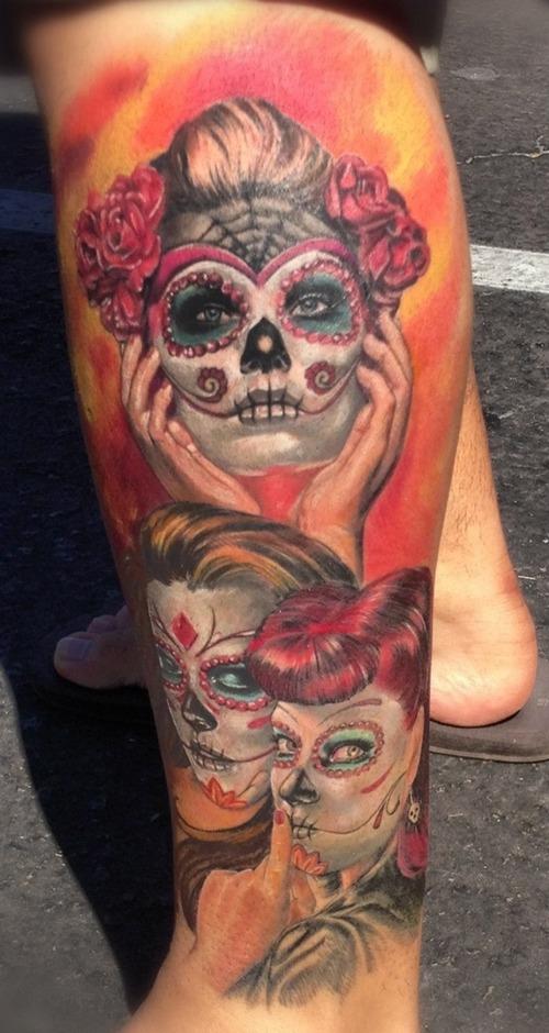 Perfect Dia De Los Muertos Tattoo Designs On Left Leg For Girls