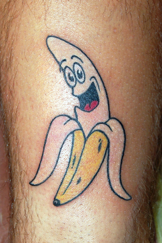 Perfect Funny Banana Tattoo Design For Boys
