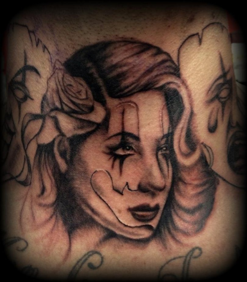 Perfect Gangsta Lady Face Tattoo Design For Boys