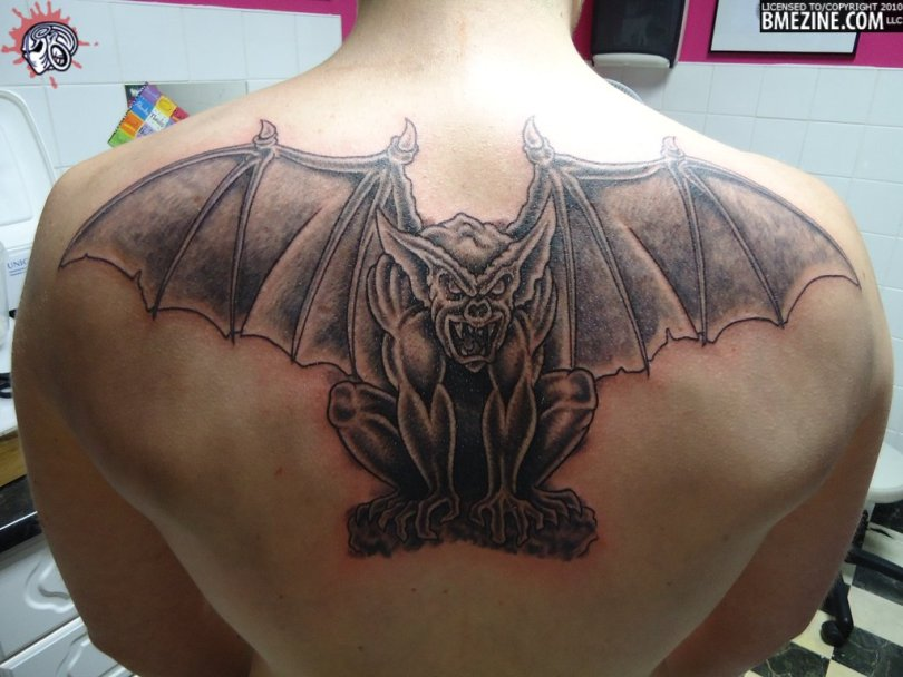 Perfect Winged Gargoyle Tattoo On Upper Back For Boys