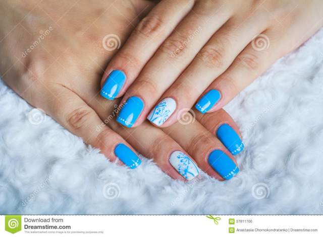 Phenomenal Blue Nail With Dandelion Design