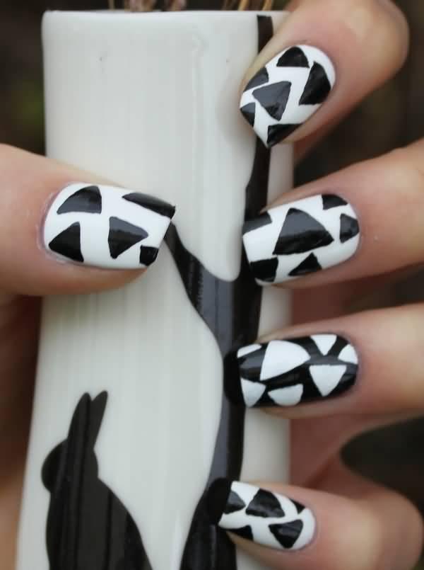 Phenomenal Triangle Design Black And White Nail Art