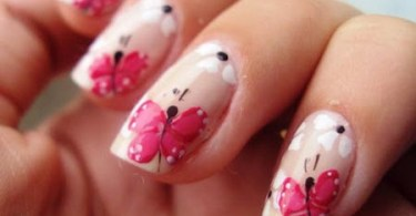 Pink Butterfly With White Flower 3D Butterflies Nail Art