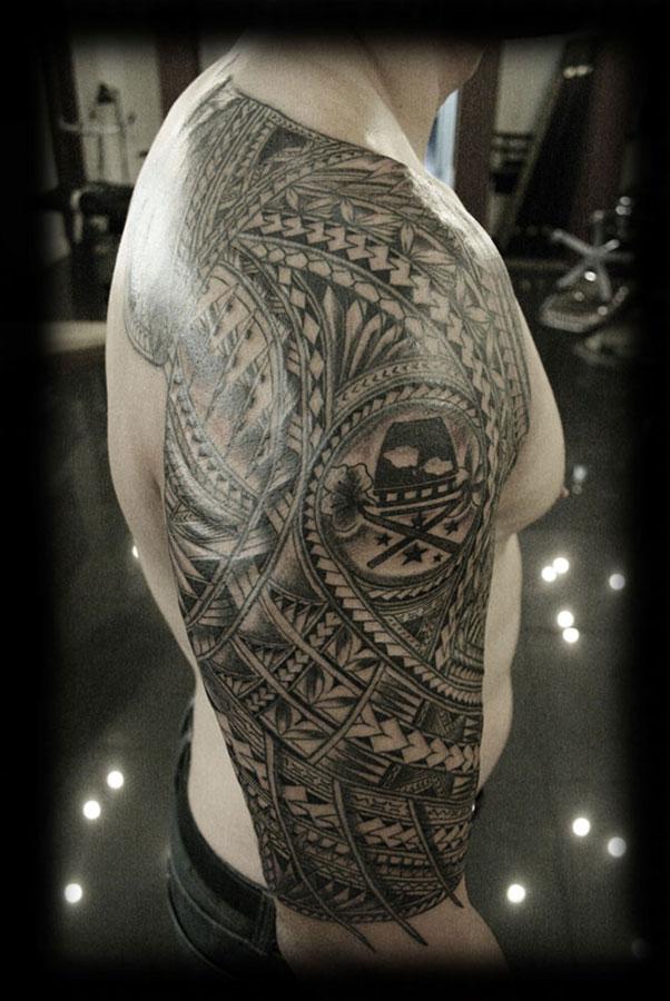 Popular Pacific Tribal Samoan Half Sleeve Tattoo Design For Boys