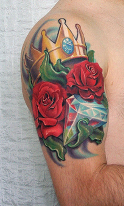 Popular Rose With Crown n Diamond Tattoo On Shoulder For Boys