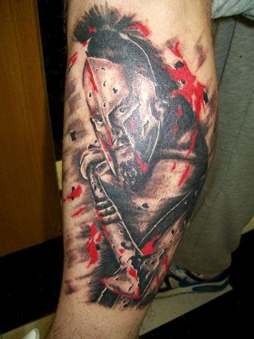 Popular Spartan Warrior Helmet Portrait Tattoo For Boys
