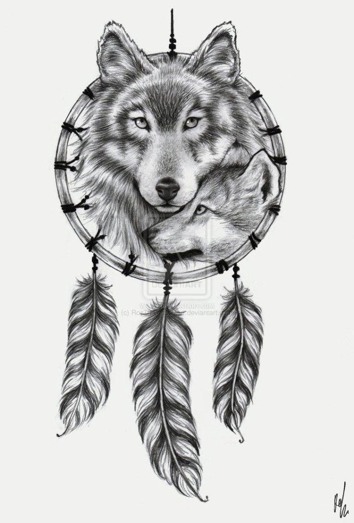 Popular Wolf n Dream Catcher Tattoo Design For Girls