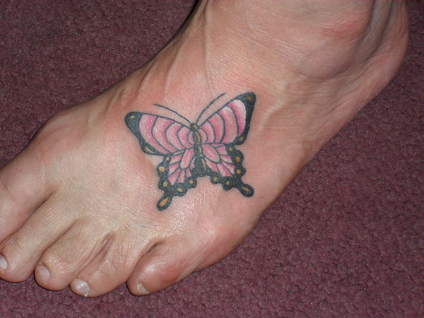 Realistic Foot Butterfly Tattoo Design For Boys