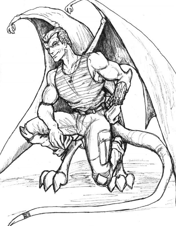 Realistic Gargoyle Man Tattoo Drawing For Girls