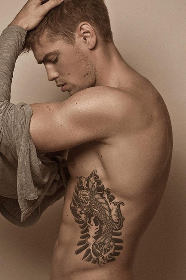 Realistic Fish Tattoo On Rib For Men
