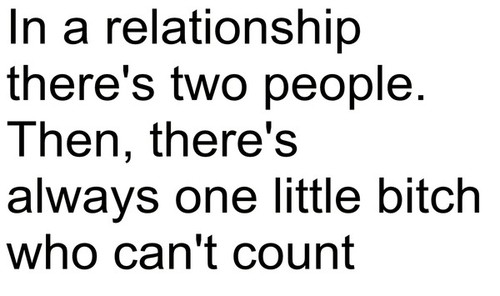 Relationship Quotes in a relationship there's two people then there's always one little bitch who can't count
