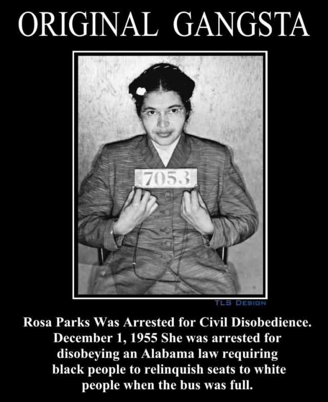 Rosa Parks Was Arrested For Civil Disobedience December 1, 1955