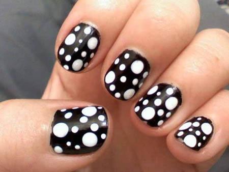 Sensational Balls Design In Black And White Nail Art
