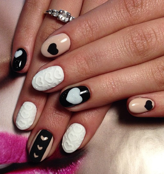 Sensational Black And Beige Nail Art With White Ink