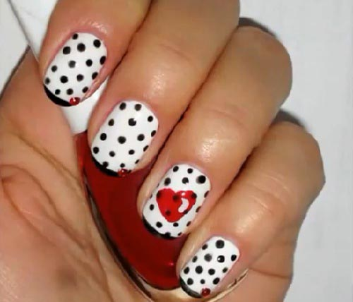Sensational Black And White Polka Dot Nail Art With Red Heart