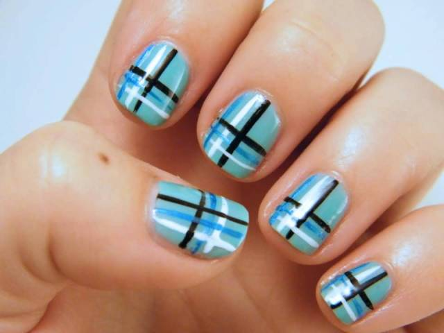 Sensational Blue Nails With Blak And Blue Nail Art