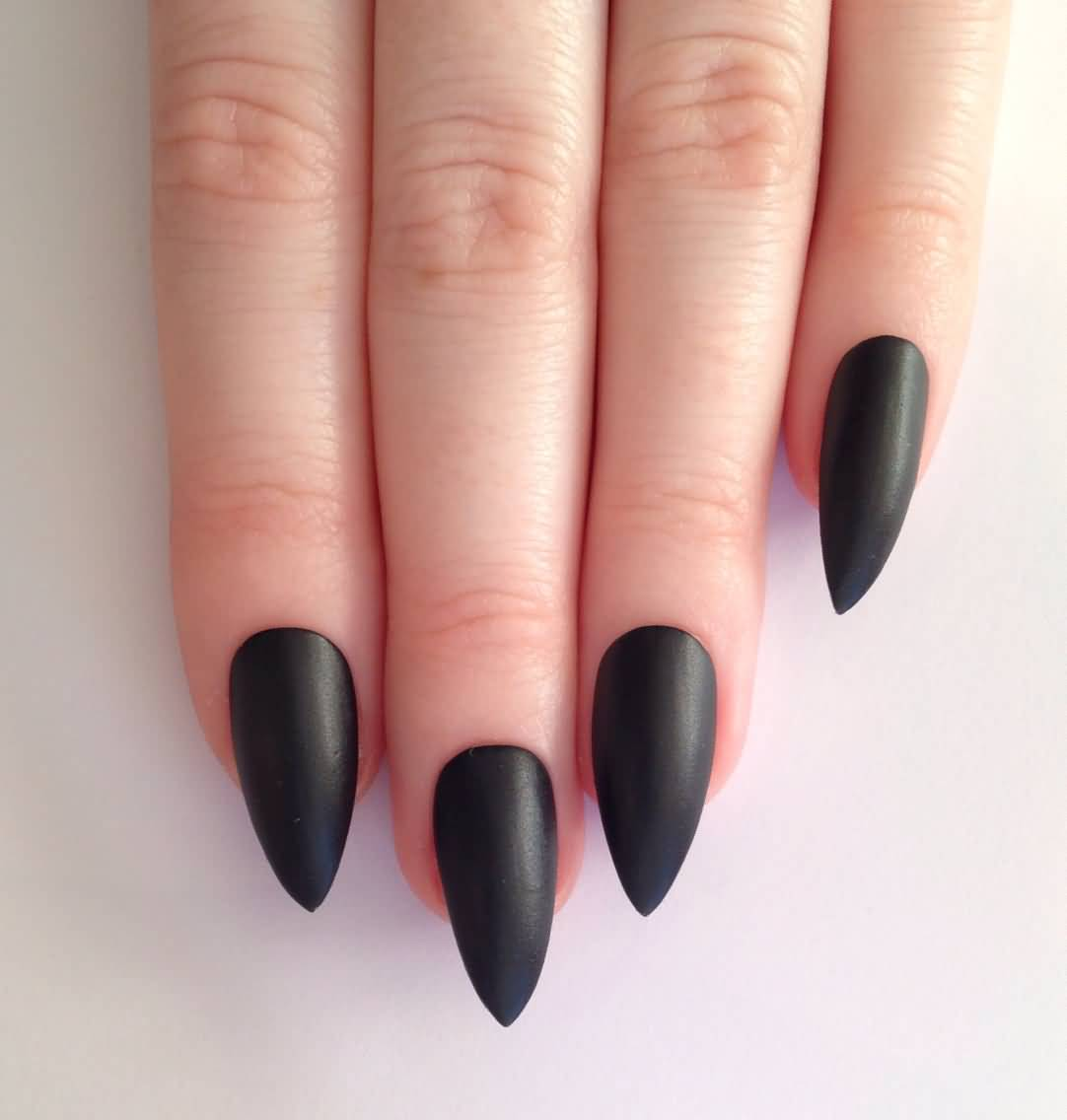 Sensational Stiletto Nails With Dark Black Nail