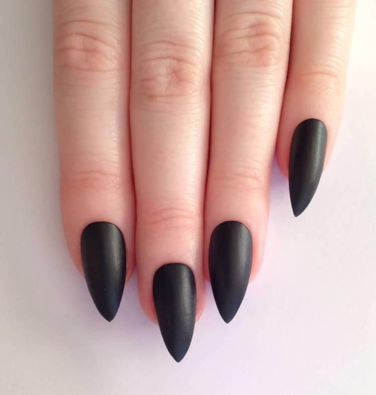 Sensational Stiletto Nails With Dark Black Nail