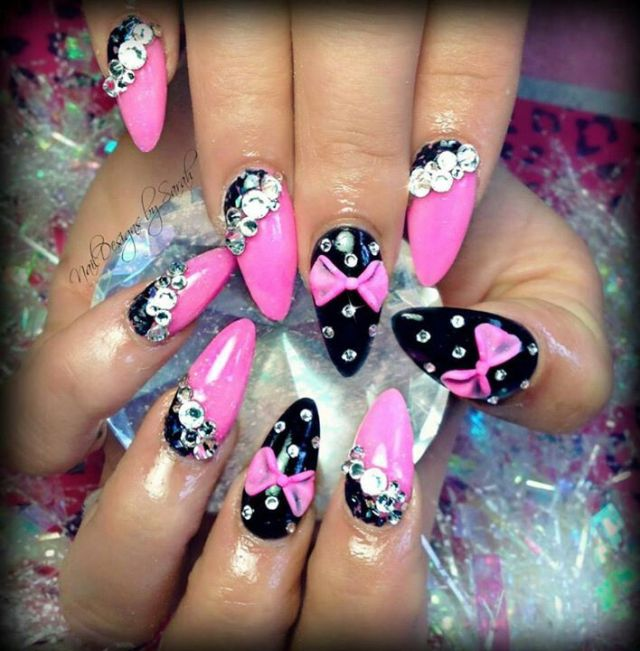 Sharp Pink And Black Color 3D Nail Art