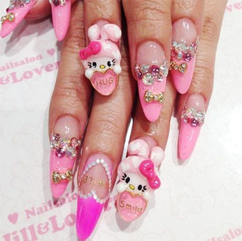 Sharp Tip With Teddy Looks Cute 3D Nail Art