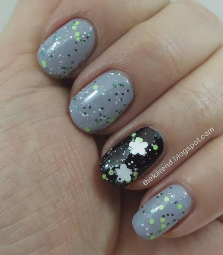 Shiny White Flower With Silver Paint Accent Nail Art