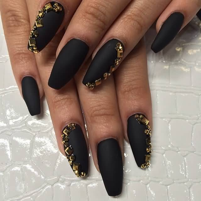 Simple Black Matte Nails With Golden Design