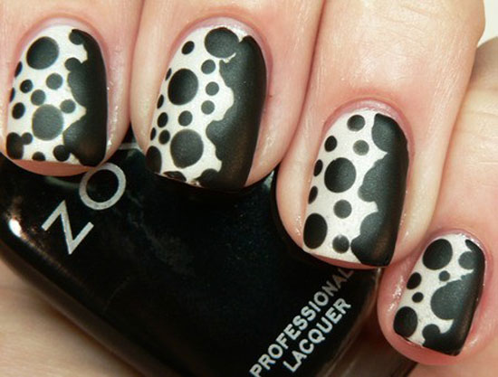 Simple Black Nail Art Design With Black Dot