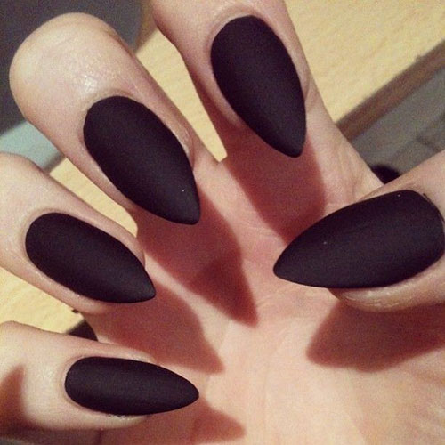 Simple Stiletto Nails With Dark Black Color