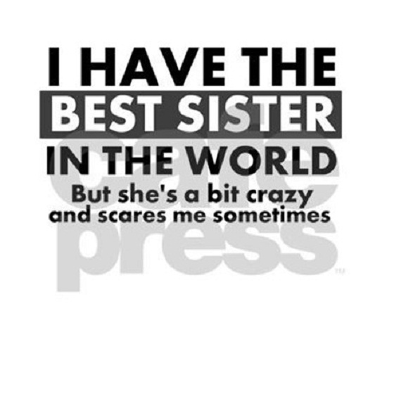 Sister In Law Quotes I have the best sister in the world but she's a bit crazy and scares me sometimes