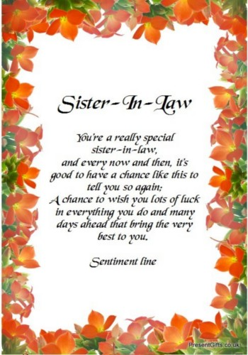 Sister In Law Quotes Sister in law you're a really special sister in law and every now and then it's good to have a chance like this