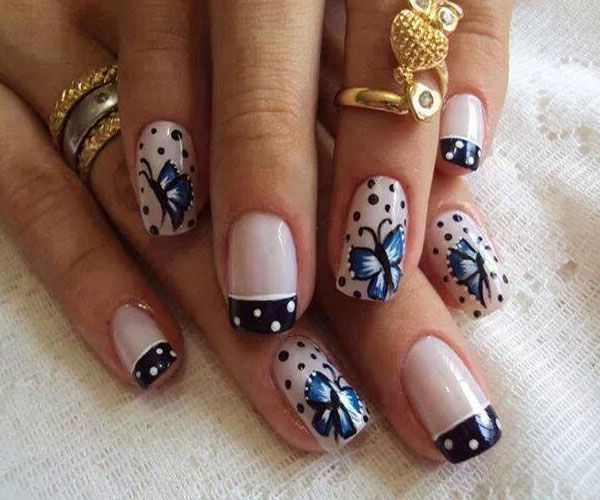 Sparkling Black And White Polka Dot Nail Art With Butterfly