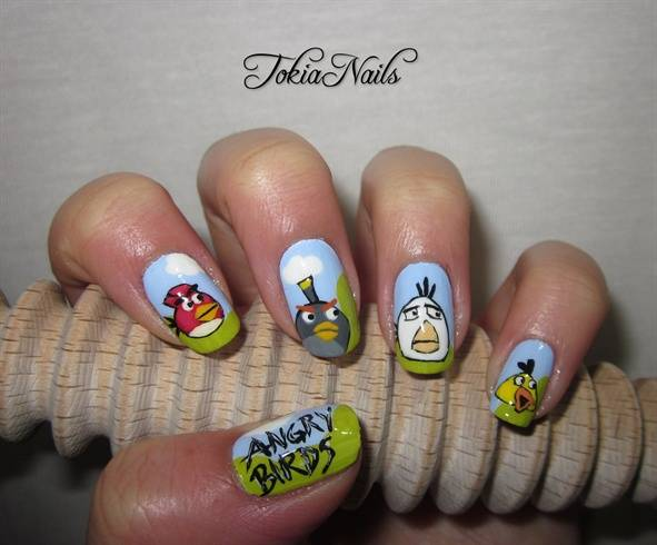 Sparkling Colorful Design Of Angry Bird Nail Art Design